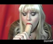 Blonde wife in boots fucks vibrator on webcam