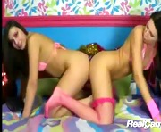 Two hot brunettes lick each other